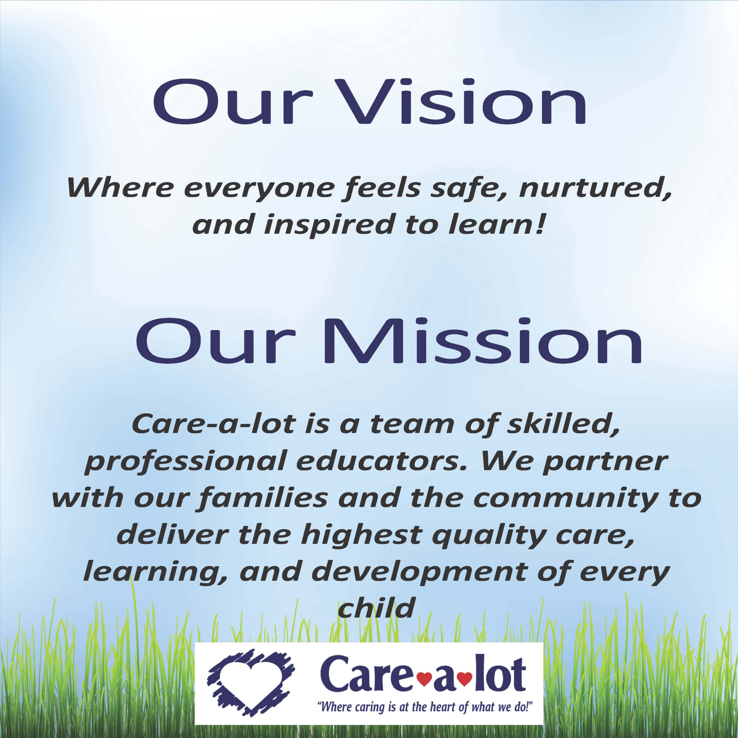 mission statement for Care a lot day care
